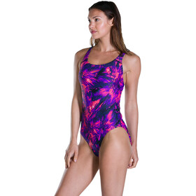 speedo FlyingFlash Allover Powerback Bañador Mujer, black/violet/post it pink